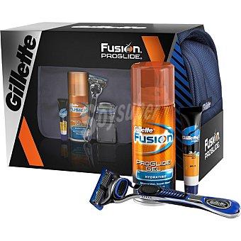 Gillette Fusion Proglide pack con maquinilla manual + cargador + gel de afeitar + bálsamo 9 ml + neceser spray 75 ml