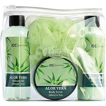 IDC INSTITUTE estuche Aloe Vera con gel de baño + loción corporal frasco 140 ml + exfoliante corporal tarro 100 ml + esponja frasco 140 ml