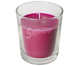 Auchan Vaso con vela color fucsia perfume oriental, 105x105 milímetros 1 unidad