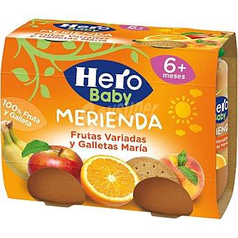 HERO BABY MERIENDA tarrito frutas variadas y galletas María envase 380 g 2x190g