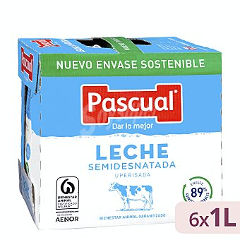 Pascual Leche semidesnatada Pack 6 briks x 1 l