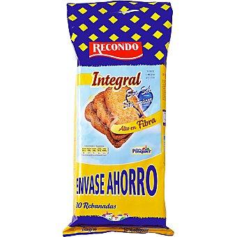 Recondo pan tostado integral sin sal y sin azúcar envase ahorro 80 rebanadas Paquete 720 g
