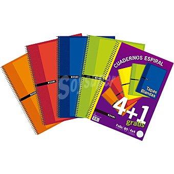 Enri Cuadernos con espirales y tapas blandas de 80 hojas 4x4 en colores surtidos lote 4+1 gratis