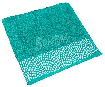Actuel Toalla de lavabo 100% algodón color verde con cenefa inferior de ondas, /m². 50x90cm 400g