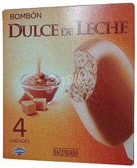 HACENDADO Helado palo bombón dulce de leche CAJA 4 u