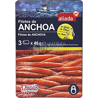 Aliada Filetes de anchoa en aceite de oliva pack 3 lata 29 g neto escurrido Pack 3 lata 29 g