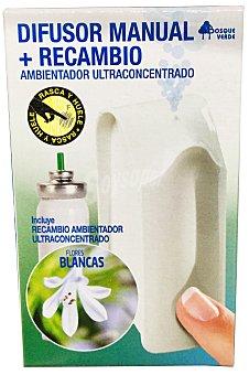 Bosque Verde Ambientador ultraconcentrado difusor manual mini aparato + recambio aroma flores blancas 1 ambientador + recambio
