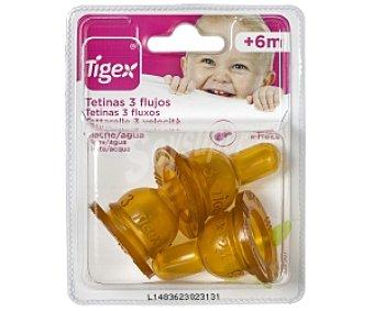 Tigex Tetinas caucho 3 Flujos Leche/Agua +6 Meses 3 Unidades
