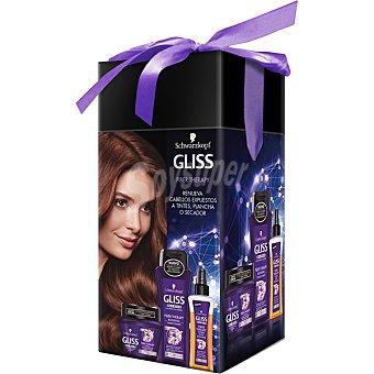 Gliss Schwarzkopf Hair Repair pack Fiber Therapy con champú + mascarilla + elixir reparador  estuche 1 unidad