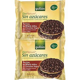 GULLON DIET NATURE Tortitas de maíz con chocolate negro sin azúcares añadidos estuche 100 g Estuche 100 g