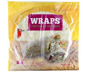 Auchan Tortillas de trigo wraps 375 g (6 unidades)