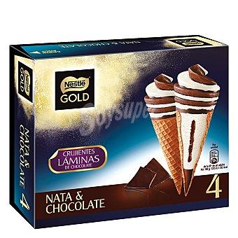 NESTLE GOLD Cono de helado de nata y chocolate con crujientes laminas de chocolate estuche 440 ml 4 unidades