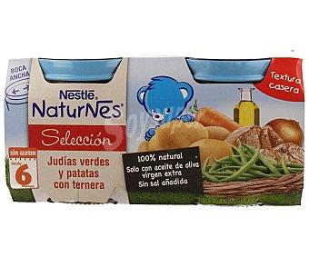 Naturnes Nestlé Tarritos de judías verdes y patatas con ternera Judía verde/carne200gx2u