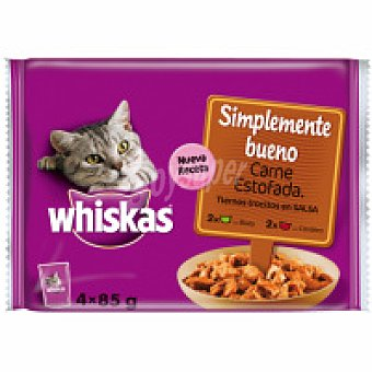 Whiskas Simple bueno de carne estofada Pack 4x85 g