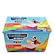 Yogur petit de fresa y de fresa-plátano 12x50 g Carrefour Kids