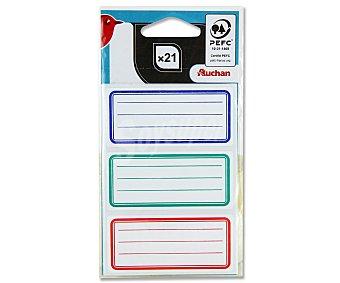 Auchan Bolsa de 21 etiquetas adhesivas de 3 colores y con medidas de 34X75 centímetos auchan 21u