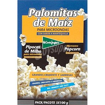 El Corte Inglés Palomitas con sabor a mantequilla pack 3 unds. 100 g Pack 3 unds. 100 g