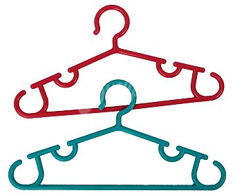 Actuel Perchas infantiles triangulares, rojo o azul, actuel Pack de 3