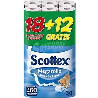 Scottex Papel higiénico Megarollo Paquete 18 rollos + 12 gratis