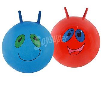SPORTS & FUN Pelota saladora de 50 centímetros, con dos agarraderas y dibujo de unas caras divertidas 1 unidad