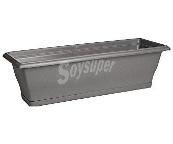 VAN Maceta balconera rectangular de plástico, lisa, de color gris y medidas de 60 x 20 x 19 centímetros 1 unidad