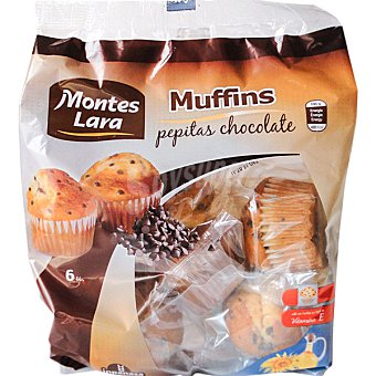 MONTES LARA INPANASA Muffins pepitas de chocolate Paquete 450 g