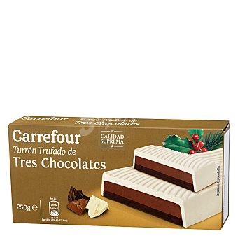 Carrefour Turrón trufado de tres chocolates 250 g