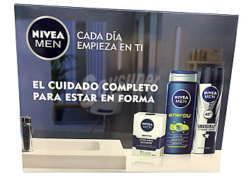 NIVEA Lote corporal hombre cuidado completo desodorante spray 150 ml + after shave 100 ml + gel de baño 250 ml Pack desodorante 150 ml + after shave 100 ml + gel de baño 250 ml