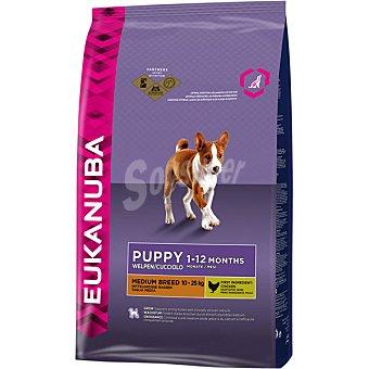 Eukanuba Puppy medium breed pienso completo para perros cachorros 1-12 meses de raza mediana -25 kg con pollo Bolsa 3 kg