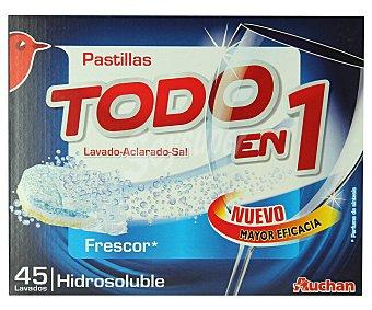 Auchan Detergente lavavajillas frescura Todo en 1 45 Dosis (720 Gramos)