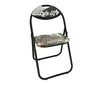 SDPE Silla plegable estampada modelo Nueva York, fabricada en metal con asiento y respaldo acolchados, 89x29x45 centímetros 1 Unidad