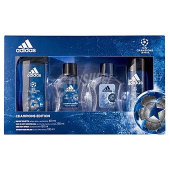 Adidas Lote hombre champions league eau toilette vaporizador (100 ml) + gel baño (250 ml) + after shave (100 ml) + desodorante spray (150 ml) Pack 1 ud