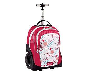 BODYPACK Mochila con ruedas ultra grandes, asas reforzadas, mango telescópico plegable, amplisimo bolsillo frontal con cierre de cremallera y todo ello en color rosa y blanco 1 unidad