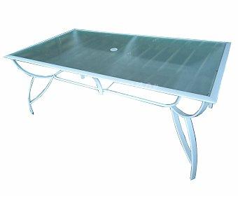 GARDEN STAR Mesa rectangular con estructura de acero color blanco y cristal templado de seguridad, de 180x100x71 centímetros 1 unidad