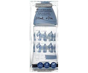 Suavinex Biberón azul con tetina redonda 3 posiciones latex de 0 a 6 meses 1 unidad (capacidad para 270 ml)