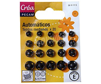 STYLE Pack de 20 corchetes de presión de varios tamaños, color negro 1 Unidad