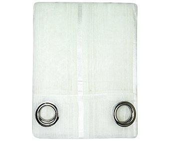 Auchan Visillo con ollaos color blanco, tejido chenilla y detalles de pespuntes, 140x260 centímetros auchan