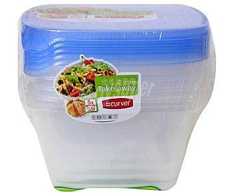 Curver 5 recipientes herméticos cuadrados de plástico, capacidad de , sandwich take away curver 1 litro