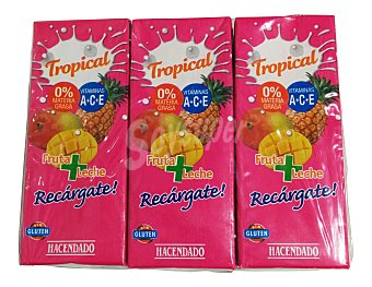 Hacendado Frutas+leche tropical (brick rosa) 3 x 330 cc