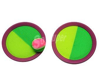 EURASPA Juego lanza bola, se compone de dos discos recubiertos de velcro en una de sus caras y de 1 pelota de tenis 1 unidad