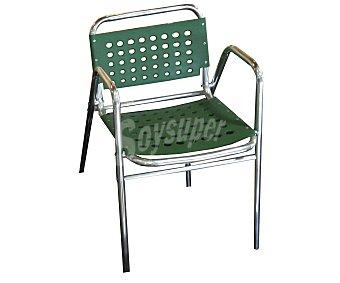 PROFILINE Silla fija para jardín. Fabricada en aluminio con asiento y respaldo de plástico con agujeros, de color verde y medidas: 55x49x74 centímetros 1 unidad