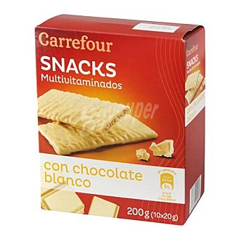 Carrefour Galleta multivitaminica bolacha bañada con chocolate blanco 210 g
