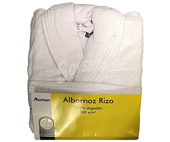 PRODUCTO ECONÓMICO ALCAMPO Albornoz 100% algodón rizo, 380 gramos/m², color blanco, talla mediana 1 Unidad