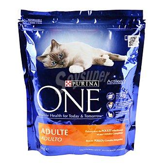 One Purina Alimento de pollo-arroz gato adulto Paquete 450 g