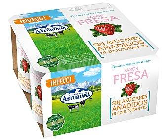 Central Lechera Asturiana Yogur con sabor a fresa y sin azúcares añadidos ni edulcorantes 4 x 125 g