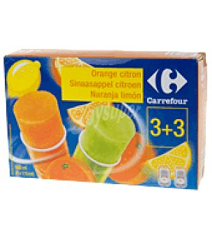 Carrefour Helado naranja/fresa tubo Envase de 6 ud