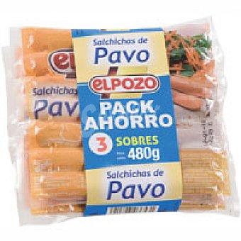 ElPozo Salchicha de pavo Pack 3x160 g