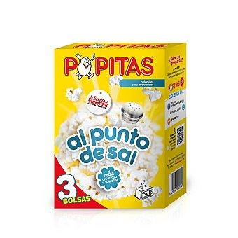 Popitas Borges Palomitas para microondas al punto de sal Pack de 3 paquetes x 100 g