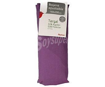 Auchan Sábana bajera ajustable color morado para cama de 160 centímetros 1 unidad