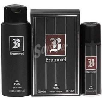 Brummel Agua de colonia masculina frasco 500 ml + gel de baño frasco 400 ml + desodorante espray 200 ml Frasco 500 ml